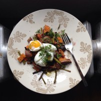 Soft-Boiled Egg over Roasted Winter Vegetables