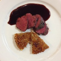 Juniper-Rosemary Encrusted Venison Tenderloin with Pommes Darphin