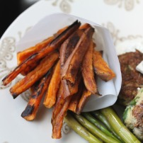 Mediterranean Turkey Burgers with Sweet Potato Fries