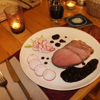 Thyme & garlic sous-vide steak with a blueberry balsamic reduction