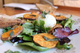 Late winter greens with frizzled sage, roasted sweet potato chips and sage-brown butter basted soft-boiled egg